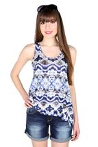 Tribal Print Sleeveless High-Low Tank