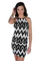 Zig-zag Print Halter Dress