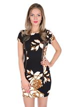 Sheer Insert Floral Cap Sleeve Dress