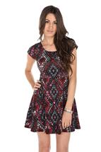 Aztec Print Cap Sleeve Dress