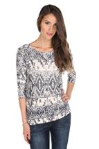 3/4 Sleeve Tribal Print Sweater