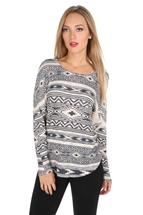 Aztec Print Long Sleeve Sweater
