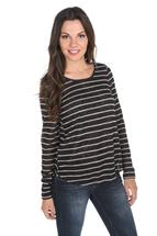 Striped Long Sleeve High-Low Sweater