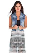 WallFlower Medium Wash Denim Vest