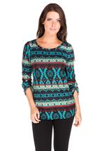 Aztec Hacci Roll-Up Sleeve Sweater