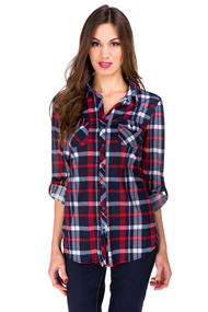 Plaid Roll-up Sleeve Shirt