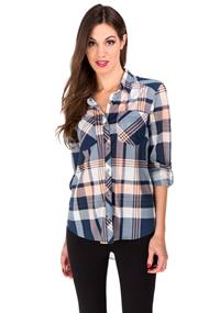 High-low Plaid Roll-up Sleeve Shirt