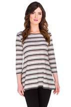 Striped Ribbed 3/4 Sleeve Tunic