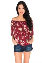 Floral Pattern Peasant Top