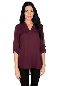 Half Plaquet Tunic Length Blouse