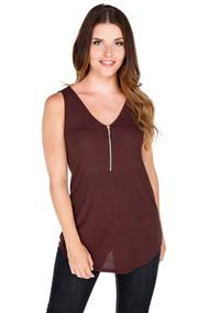 Zip Front Ribbed Tank