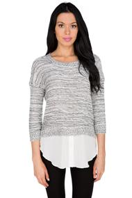3/4 Sleeve Layered Sweater