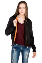 Contrast Lining Bomber Jacket