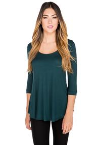 Shirttail Hem Scoopneck Top