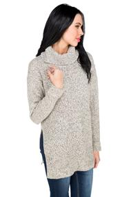 Cowl Neck Sweater with Side Slits