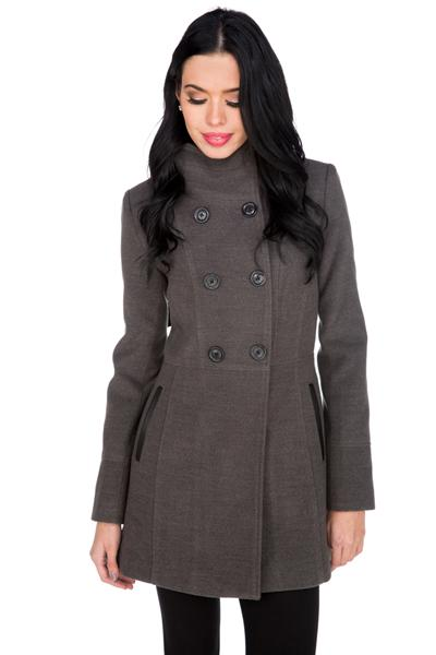 High Collar Wool Look Coat