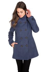 High Collar Wool Look Coat with Hood