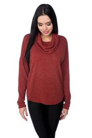 Cowl Neck Sweater with High-low Hem