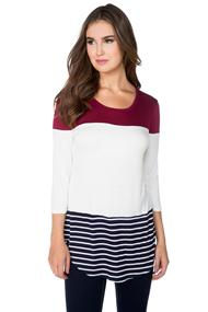 Colourblock Top with Shirttail Hem