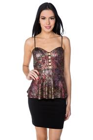 Metallic Animal Print Peplum Top