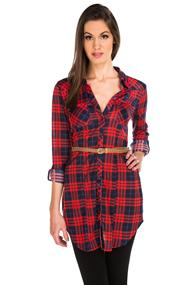 Plaid Knit Shirt Dress