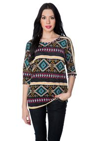 Aztec High-low Dolman Sweater
