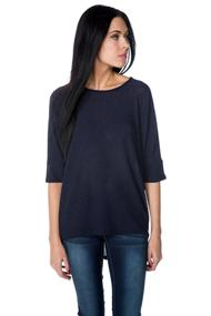 Ribbed Knit Dolman Short Sleeve Sweater