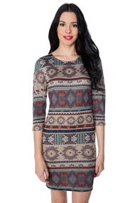 Aztec Print Dress with 3/4 Sleeves