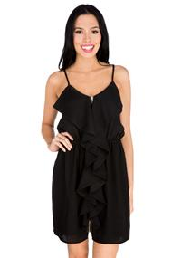 Spaghetti Strap Dress with Ruffle and Zipper