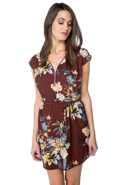 Floral Dress with Belt and Zipper