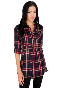 Audrey Plaid Belted Tunic
