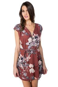 Floral Dress with Zipper and Belt