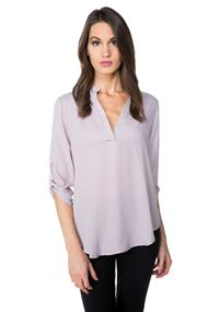 Poly Crêpe Blouse with Roll-Up Sleeves