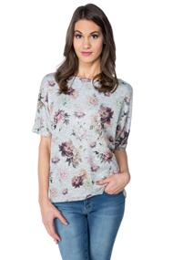 Floral Short Sleeve Dolman Sweater