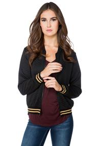 Quilted Bomber with Striped Waistband and Cuffs