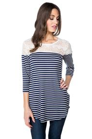 Striped Top with Lace Shoulders