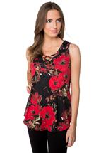 Floral Top with Criss Cross V-neck
