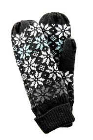 Snowflake Pattern Mittens with Ribbed Cuffs