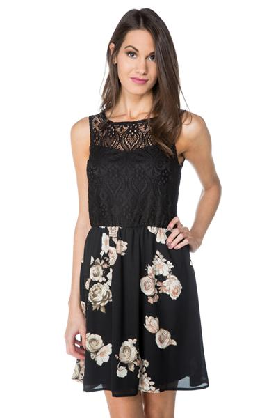 Sleeveless Dress with Lace Top and Rose Print Skirt