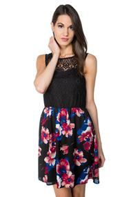 Sleeveless Dress with Lace Top and Floral Skirt