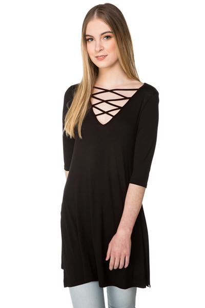Criss Cross Tunic with Side Slits