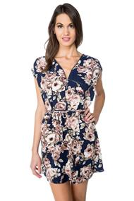 Large Floral Print Dress with Zipper and Belt