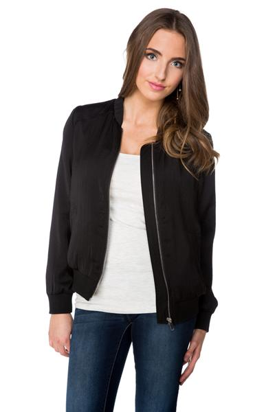 Sateen Bomber Jacket with Ribbed Trim