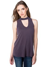 Sleeveless Top with Choker V-neck
