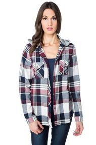 Cora Plaid Flannel Shirt with Hood