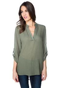 Rayon Gauze Blouse with Roll-up Sleeves