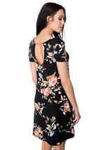 Floral Cap Sleeve Swing Dress with Pockets