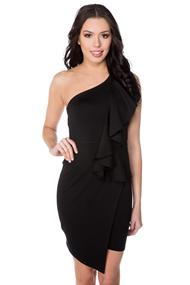 One Shoulder Dress with Ruffle and Asymmetrical Hem