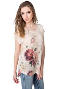 Cap Sleeve Sweater with Floral Sublimation Print