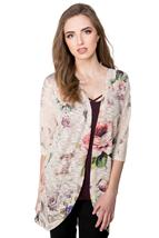 Cocoon Cardigan with Floral Sublimation Print